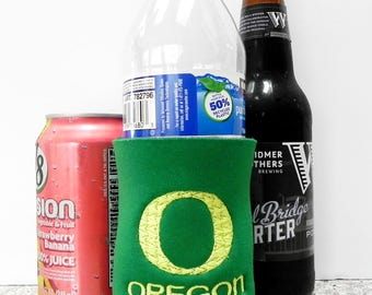 Oregon Ducks - Yell O  - and Your Name or Go Ducks on a Can Cooler with Machine Embroidery.  Choose size and colors.
