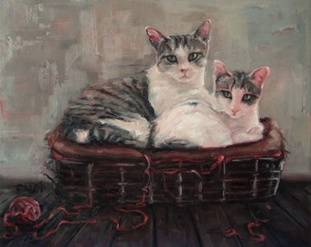 MotherDaughter Kitties, custom cat portrait paintings, custom Pet Portrait Oil Painting, 10x12""