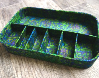 Vintage Storage Box, Fabric Tray by KC Products/Cozy Home Accessories Calfornia, Terrific 1960s Green Floral Fabric Covered Tray, Many Uses!