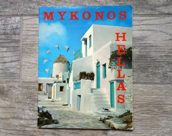 Vintage Travel Souvenir Book, Mykonos and Delos Greece Photo and Information Magazine Style Booklet in English and French, Circa 1970s