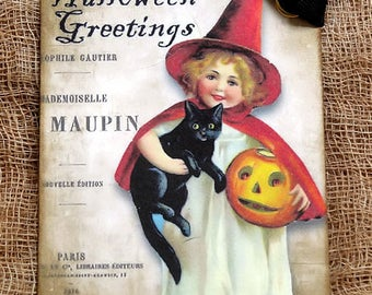 Halloween Greetings Witch With Black Cat & Jack O Lantern Pumpkin Gift or Scrapbook Tags or Magnet #482