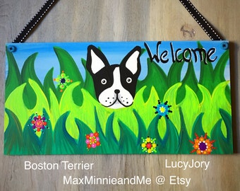 Boston Terrier Welcome Spring Door Decoration