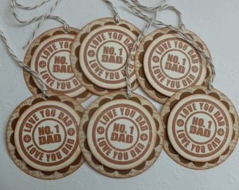 Father's Day Tags for Dad birthday hand stamped vintage style No. 1 Love You - set of 6