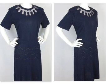 Vintage 1940s Dress, Cutout Neckline, Skirt Detail, Navy Rayon, Sz L