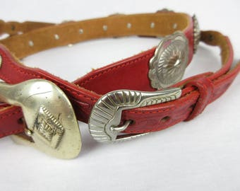 Vintage Red Leather Concho Western / Southwestern / Cowgirl Belt Pair, Sz M