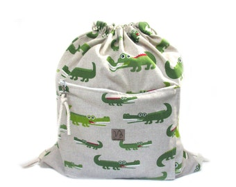 crocodile backpack cotton linen