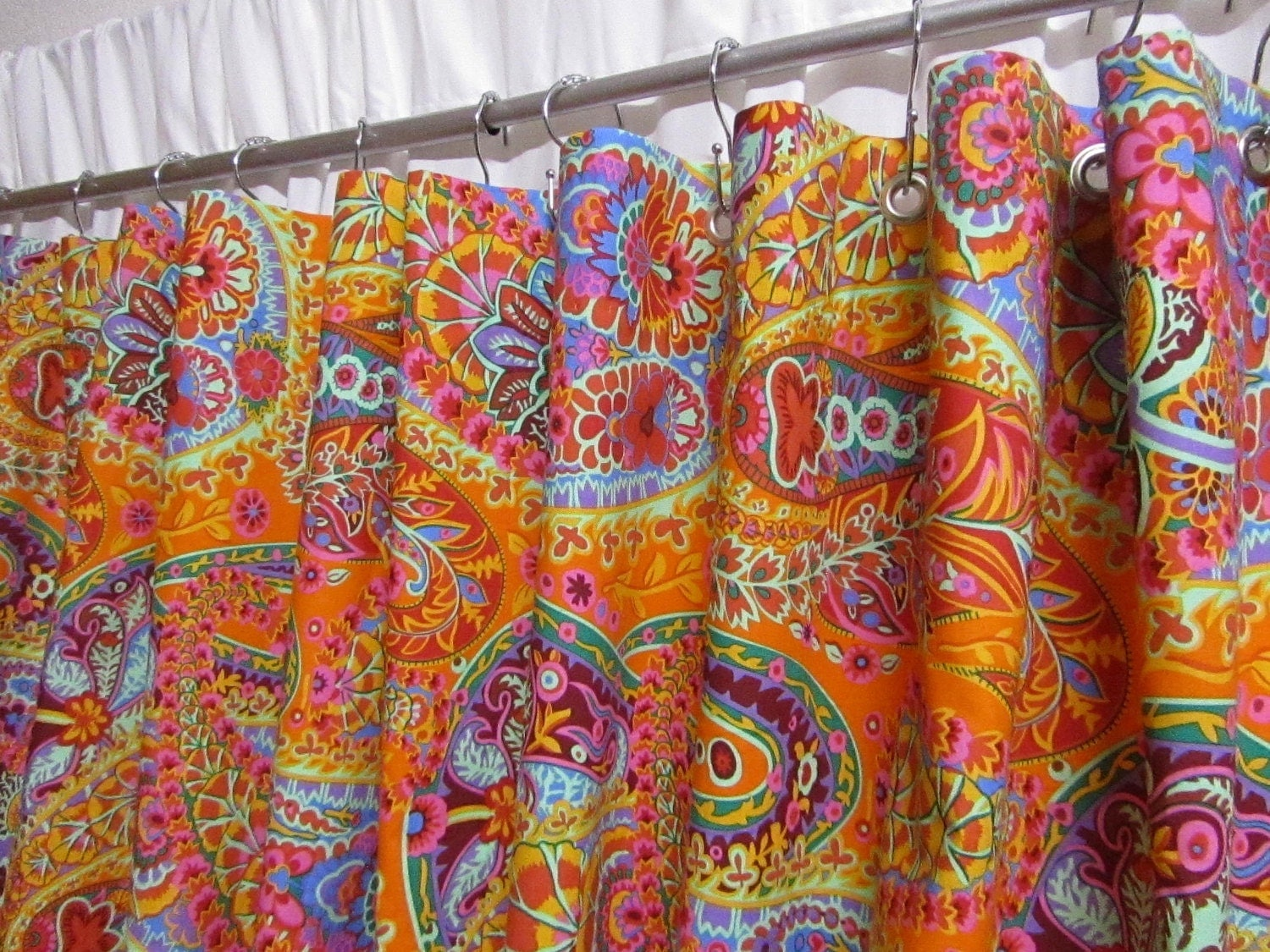 boho shower curtain paisley shower curtain tangerine orange shower curtain bohemian home decor