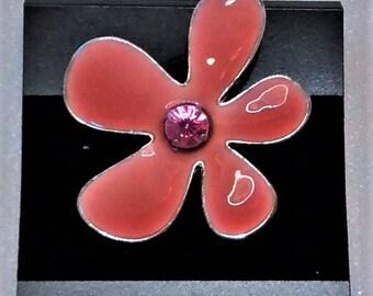 MM-110 Peach Enameled Flower Focal w/ Rhinestone