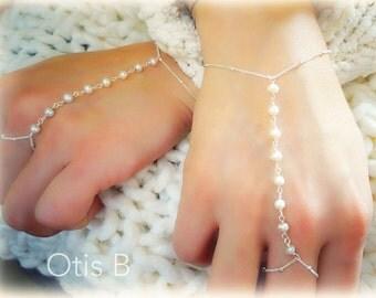 Harness bracelet, freshwater pearls, sterling silver or gold fill, boho, slave bracelet, bohemian, Otis B Jewelry Etsy, ring bracelet