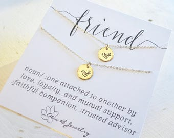 Set of TWO matching best friend necklaces, friendship, BFF, Birds of a feather, bridesmaid gifts, sisters at heart, hand stamped, Otis B
