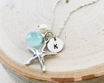 Personalized starfish charm necklace, destination wedding, beach bride, aqua, sterling silver, initial necklace, beach lover, ocean, Otis B