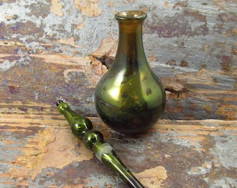 Glass Perfume Bottle  - Gold Fume -  Hand Flameworked in Wales - Glass Home Decor - Glass Flower Vase - Lampwork bottle - with glass stopper