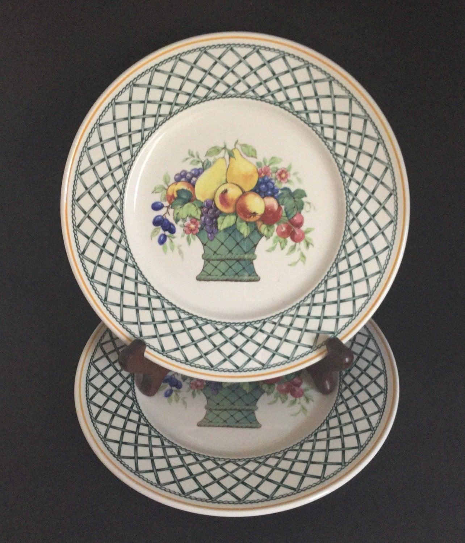 Villeroy boch basket 2 dinner plates fruit trellis mint for Villeroy and boch plates