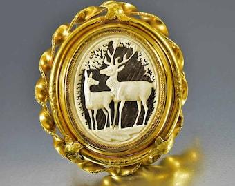 SOLD Victorian Gold Swivel Brooch Locket, Georgian Brooch, Carved Deer Chased Mourning Locket Brooch, Large Locket Pendant, Memento Mori