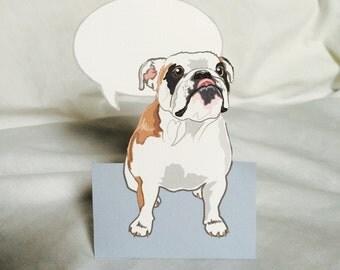Convo Bulldog - Desk Decor Paper Doll