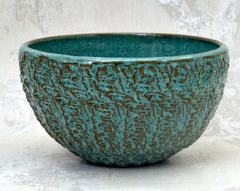 Decorative Serving Bowl in  Speckled Aqua with Deep Texture