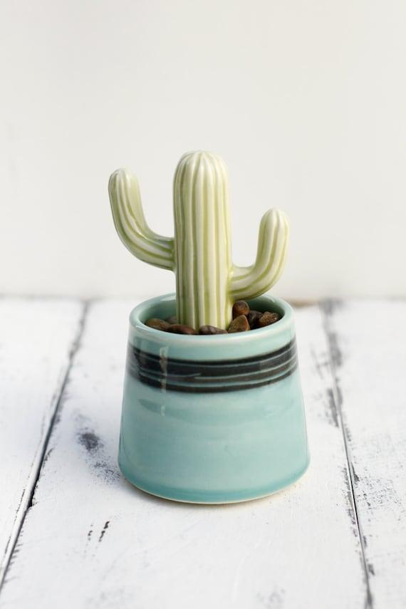 cactus and pot, porcelain