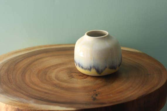 neutral and blue bud vase