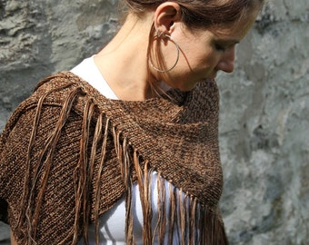 Asymmetric woman poncho bamboo knitting shawl with fringes - Brown shades poncho cape