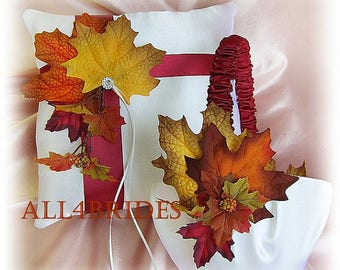Fall weddings, burgundy ribbons and fall leaves basket and pillow set.