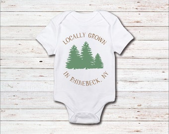 Baby Onesie, Locally Grown, Tree Hugger, Farmer, Any Town or City, Made In, Baby Shower Gift, One Piece, T Shirt, Baby Boy, Baby Girl, Twins