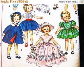 SALE 25% Off 1950s Doll Clothes Pattern 17 inch Doll Pattern Shirley Temple Doll Pattern Vintage Sewing Pattern 50s