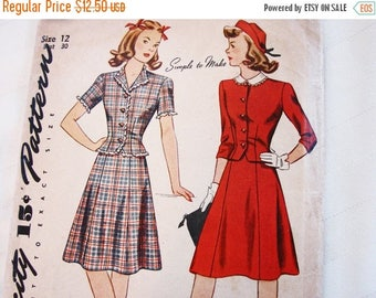 on SALE 25% OFF 1940s Dress Pattern Simplicity Size 12, Womens 2 piece Dress Top and Skirt Vintage Sewing Pattern 40s