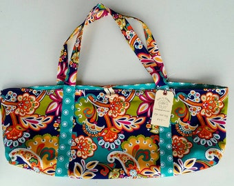 Yoga Mat Bag Tote Carry All lined cotton print Bright Paisley, orange floral, turquoise polka dot w/ pockets