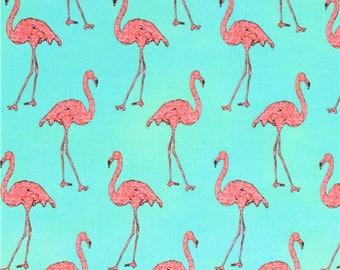 213655 green lime green Robert Kaufman pink flamingo fabric Beach Divas