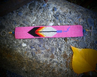 Loom beaded bracelet. Pink feather.eagle feather.prayer feather.