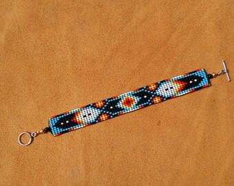 Southwest Eye Of God Design. Loom Beaded Bracelet.