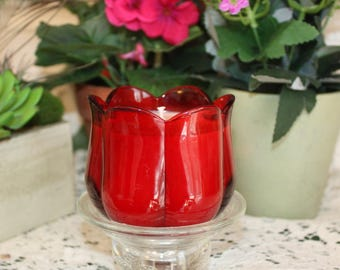 Red Glass Tulip Soy Wax Candle,YOUR SCENT CHOICE,Homemade,Hand Poured to Order,Votive Candle,Tealight Holder,Floral Candle,Gift Candle