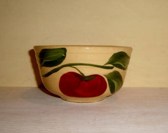 Miniature Mixing Bowl Vintage Watt Red Apple 3 Leaf Ribbed USA Yellow Ware Pottery No. 04 Ribbed
