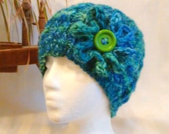 Blue and Green Handspun Cable Beanie. Handspun Yarn. Tropical Waters. Self-Striping. Optional Crochet Flower. Wool Hat. Gifts for Her.