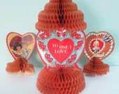 Lot of 3 Vintage Valentine's Day Cards from the 1930s, 3D, Freestanding with Accordion Honeycomb Crepe Paper Fold-Outs