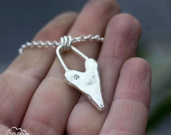 Sterling silver solid cast heart - My Rustic Heart -