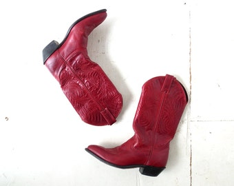 Red Cowboy Boots | 80s Boots | Cowgirl Boots | Size 6 1/2