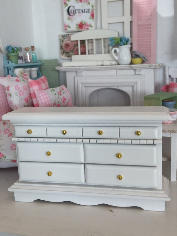 New Miniature Dollhouse White Bedroom Chest of drawers -1:12 scale