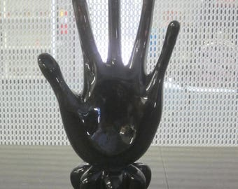 Sculpted Glass Hand Ring Holder Signed