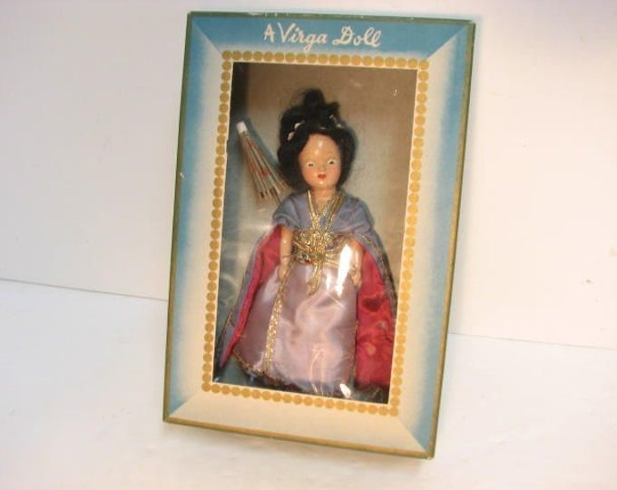 Vintage Virga Sing Song #438 Doll in Box, Beehler Arts Storybook Doll w/ Umbrella Parasol, Vintage Geisha