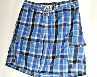 Size L Women's Repurposed Plaid Swimskirt