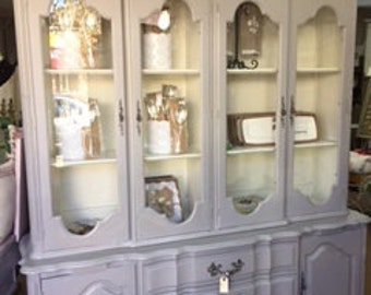 French Provincial Hutch in Pewter and Creamy White