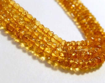Citrine Gemstone, Faceted Rondelles, Semi Precious Gemstone Bead. 3.5  to 4mm, Strand Your Choice  (fctob)