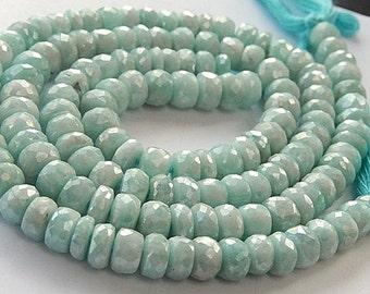 Amazonite Gemstone, Semi Precious Gemstone Bead. Faceted  Amazonite Gemstone Rondelles, Large 8mm. Strand Your Choice. (aamz)