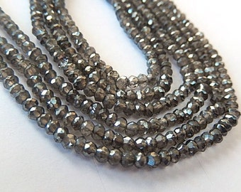 Smokey Quartz Gemstone, Semi Precious Gemstone. Faceted  Smokey Quartz w/ Diamond Finish Rondelle Gemstone 3mm. Strand Your Choice  (aqzs)