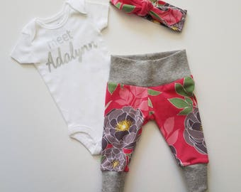 Personalized Baby Girl Coming Home Outfit. Personalized. Newborn Girl Coming Home Outfit. Girl Coming Home Outfit. Dark Pink Floral.