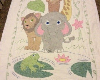 Hand Embroidery & Hand Quilted Jungle Animals Baby Quilt