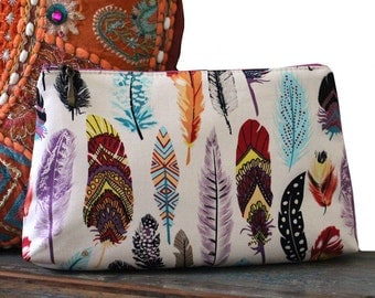 Feather Fabric Makeup Purse, Cosmetic Purse