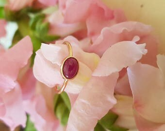 Ruby Ring, Natural Untreated Ruby Cabochon in 18k Rose Gold Setting, Ready to Ship
