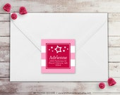American Girl Inspired Return Address Label - Square Label - Doll Address Label - Pink Birthday Label - Pink Stripe Background - WH200